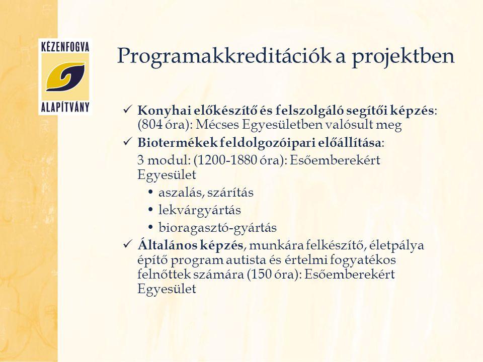 Programakkreditációk a projektben