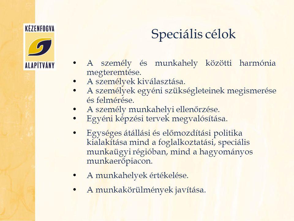 Speciális célok A személy és munkahely közötti harmónia megteremtése.