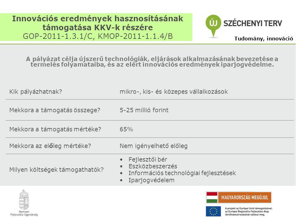 Innovációs eredmények hasznosításának támogatása KKV-k részére GOP-2011-1.3.1/C, KMOP-2011-1.1.4/B