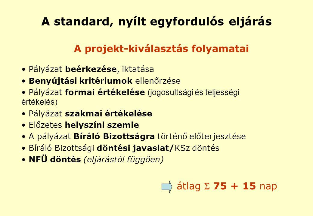 A standard, nyílt egyfordulós eljárás A projekt-kiválasztás folyamatai