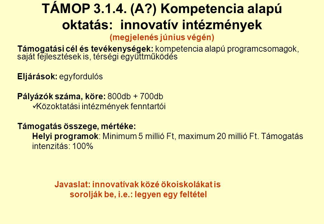 TÁMOP 3.1.4. (A ) Kompetencia alapú oktatás: innovatív intézmények (megjelenés június végén)