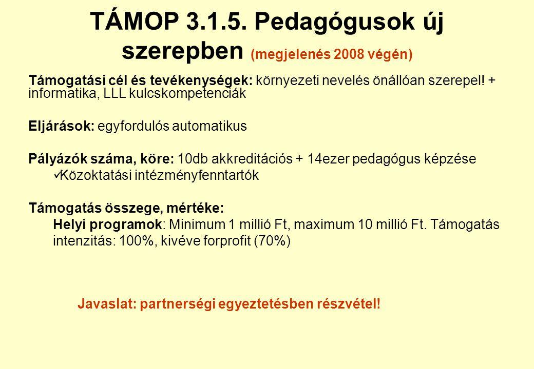 TÁMOP 3.1.5. Pedagógusok új szerepben (megjelenés 2008 végén)