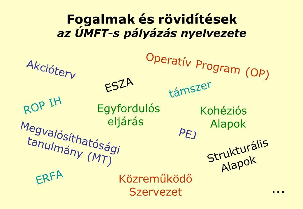 Fogalmak és rövidítések az ÚMFT-s pályázás nyelvezete