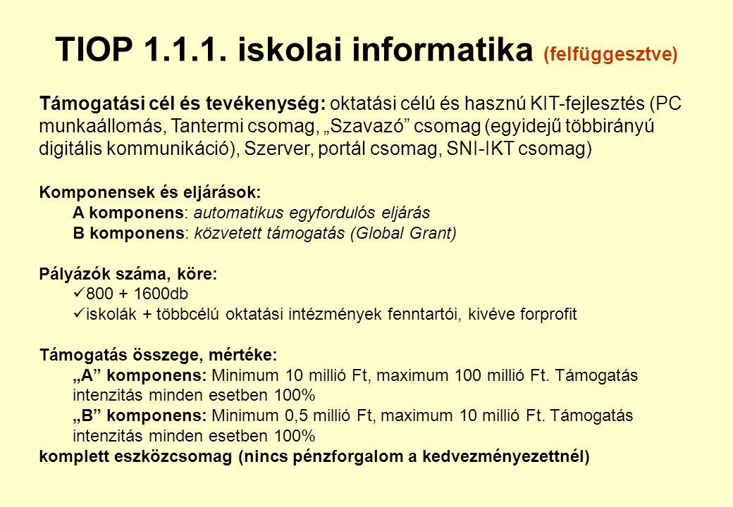 TIOP 1.1.1. iskolai informatika (felfüggesztve)