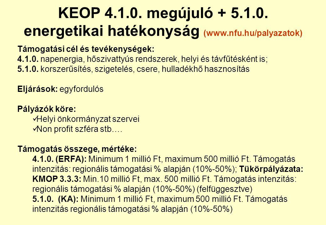 KEOP 4. 1. megújuló + 5. 1. energetikai hatékonyság (www. nfu