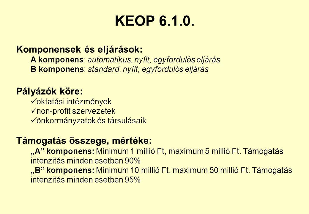 KEOP 6.1.0. Komponensek és eljárások: Pályázók köre: