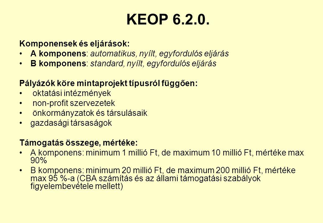 KEOP 6.2.0. Komponensek és eljárások: