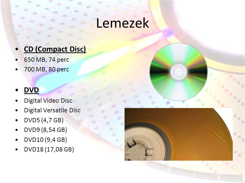 Lemezek CD (Compact Disc) DVD 650 MB, 74 perc 700 MB, 80 perc