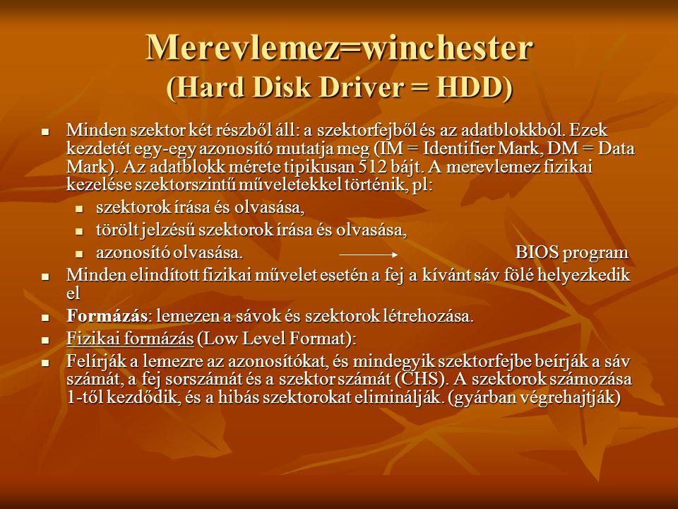 Merevlemez=winchester (Hard Disk Driver = HDD)