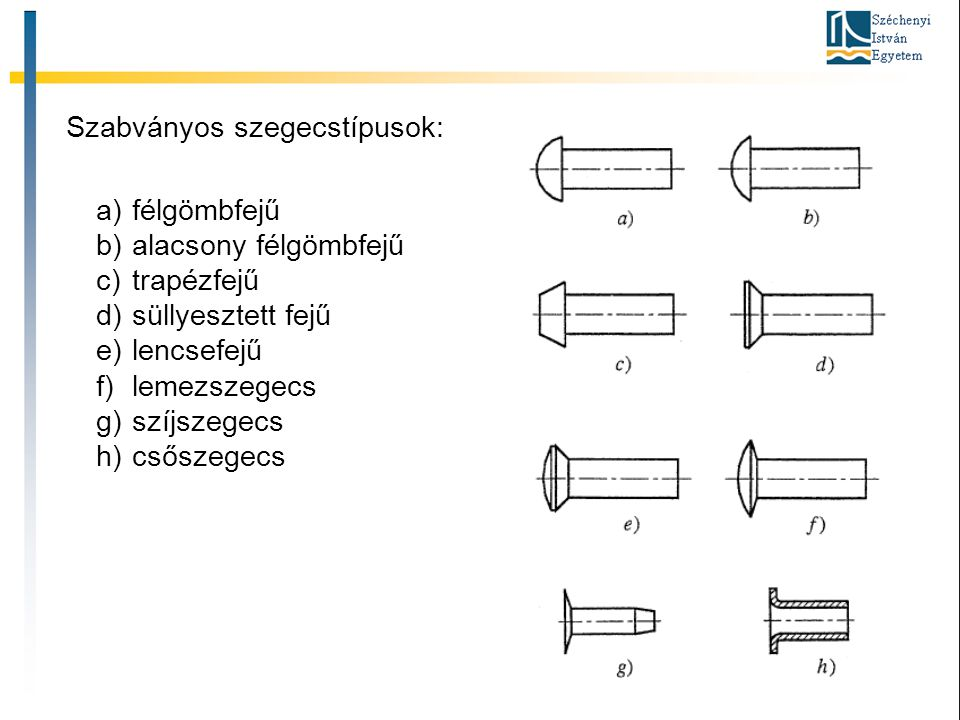 Szabványos szegecstípusok: