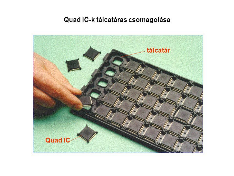 Quad IC-k tálcatáras csomagolása