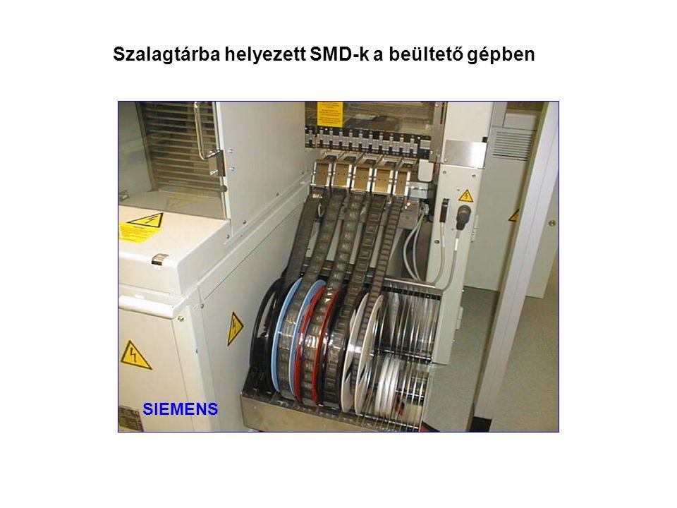 Szalagtárba helyezett SMD-k a beültető gépben