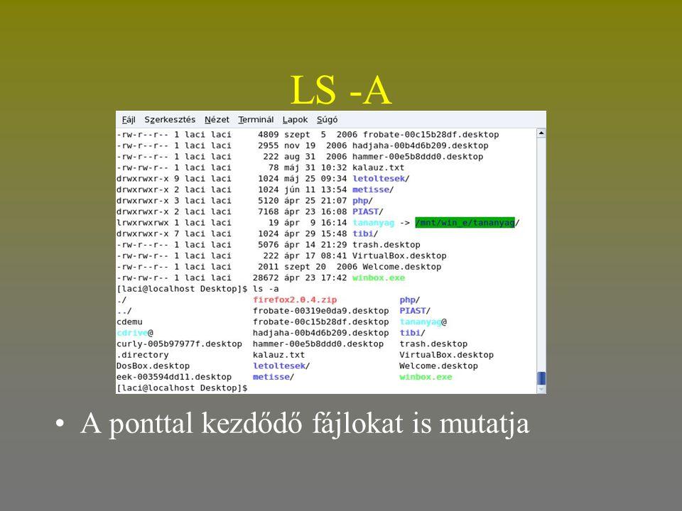 LS -A A ponttal kezdődő fájlokat is mutatja