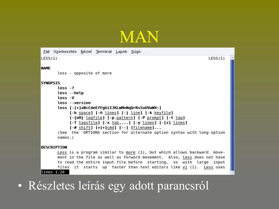 MAN Részletes leírás egy adott parancsról