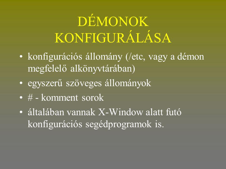 DÉMONOK KONFIGURÁLÁSA