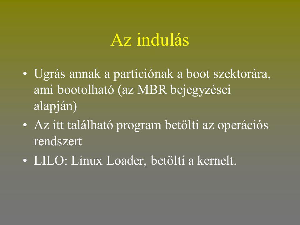 Az indulás Ugrás annak a partíciónak a boot szektorára, ami bootolható (az MBR bejegyzései alapján)
