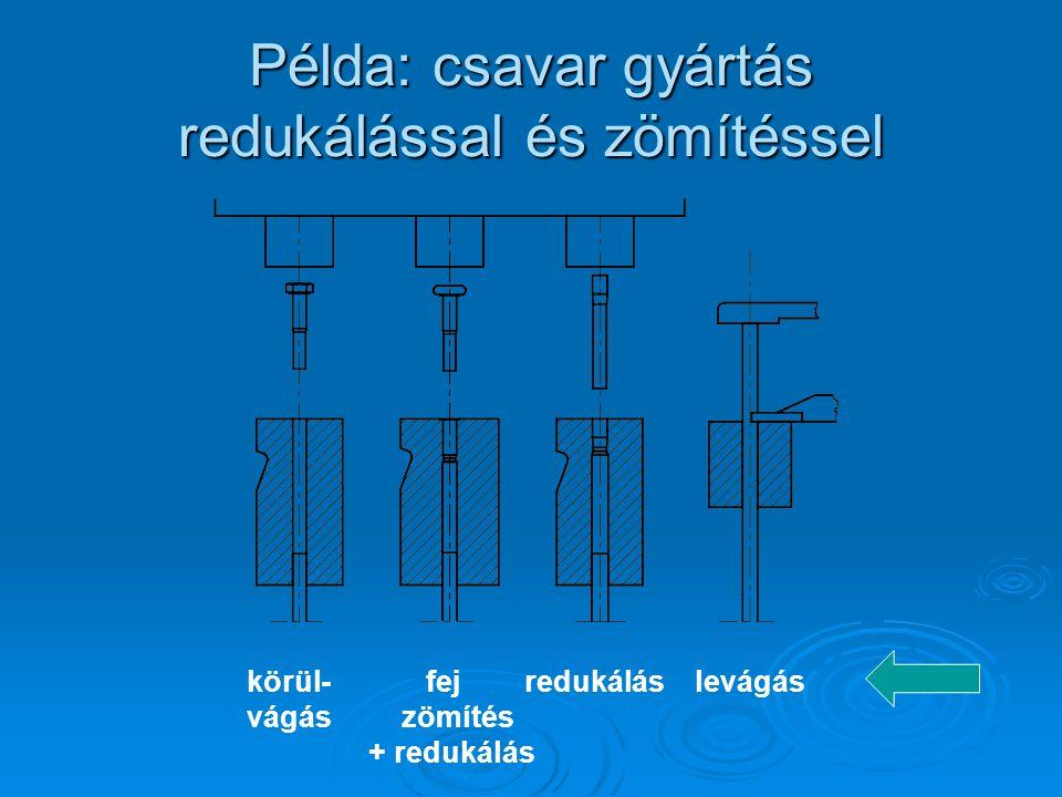 Példa: csavar gyártás redukálással és zömítéssel