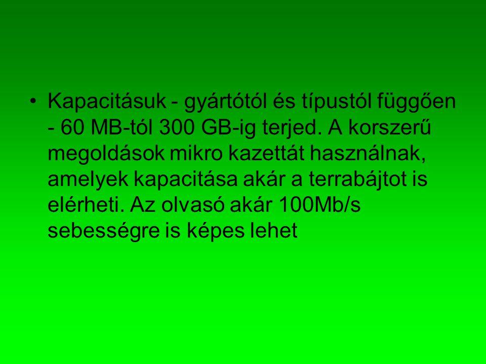Kapacitásuk - gyártótól és típustól függően - 60 MB-tól 300 GB-ig terjed.