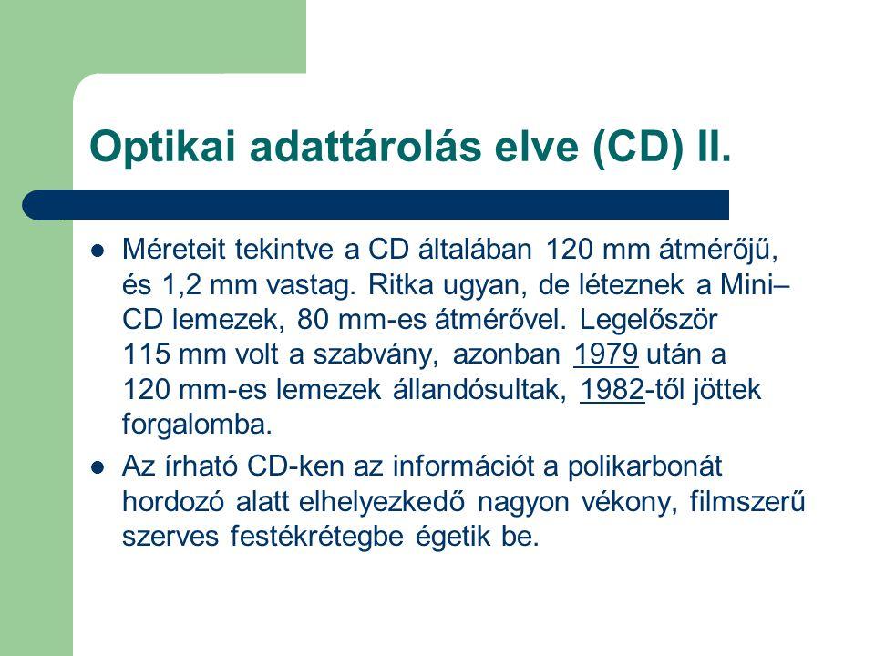Optikai adattárolás elve (CD) II.