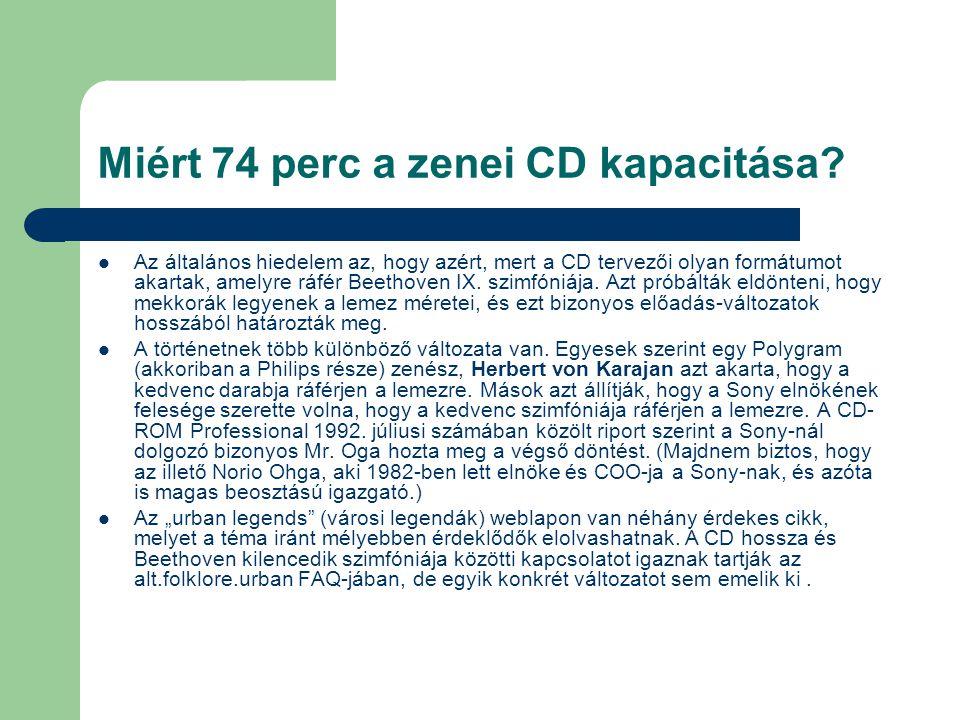 Miért 74 perc a zenei CD kapacitása