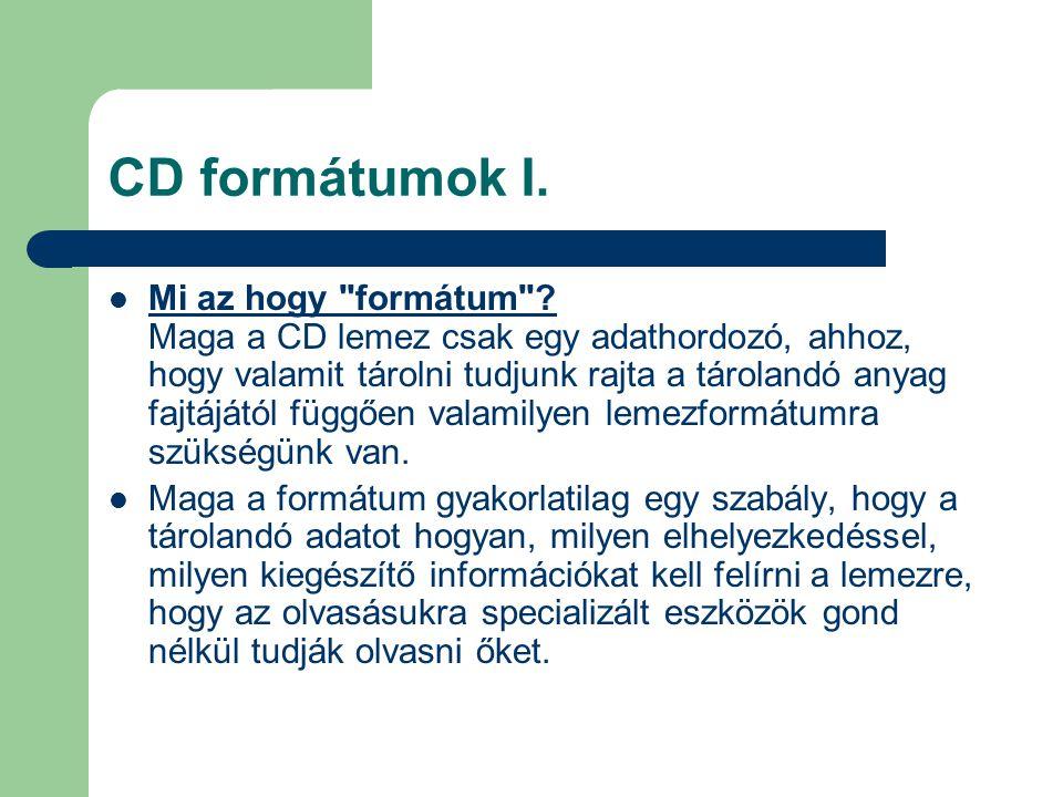 CD formátumok I.