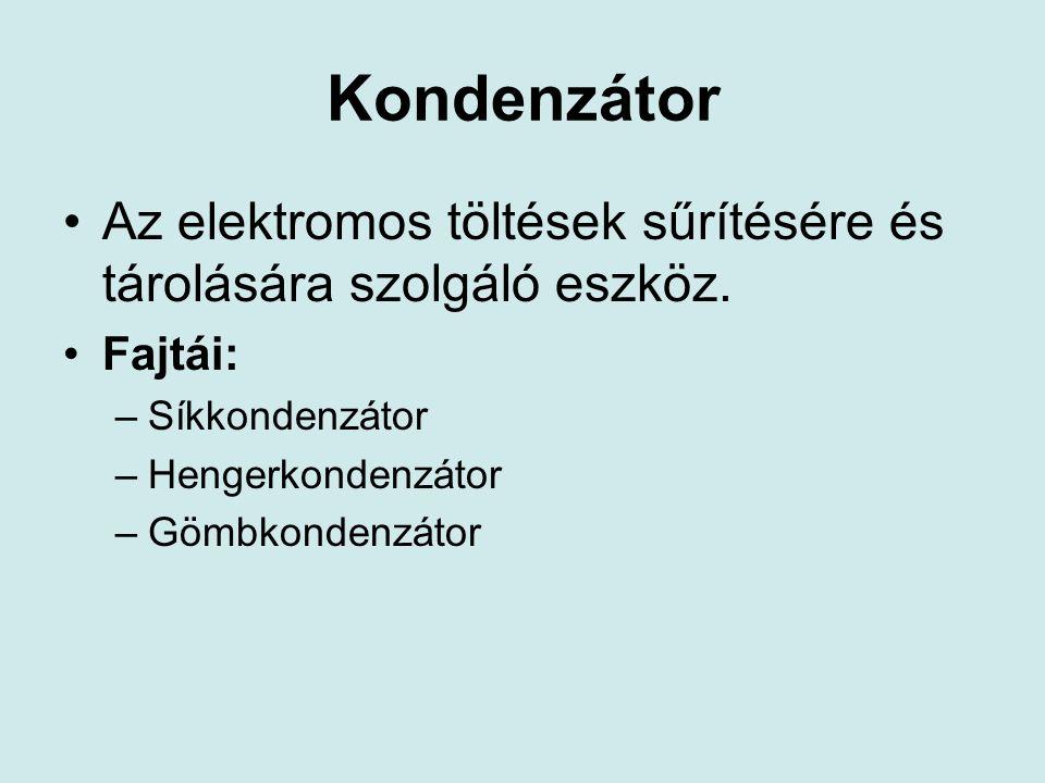 Kondenzátor Az elektromos töltések sűrítésére és tárolására szolgáló eszköz. Fajtái: Síkkondenzátor.