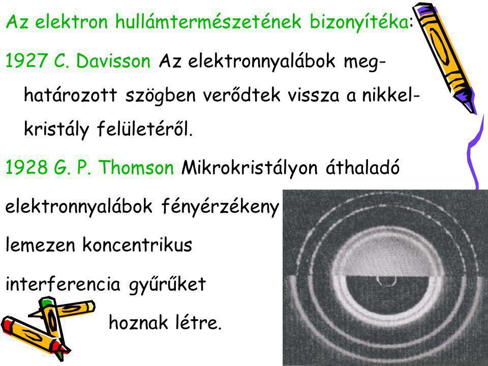 Az elektron hullámtermészetének bizonyítéka: