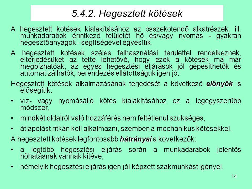 5.4.2. Hegesztett kötések