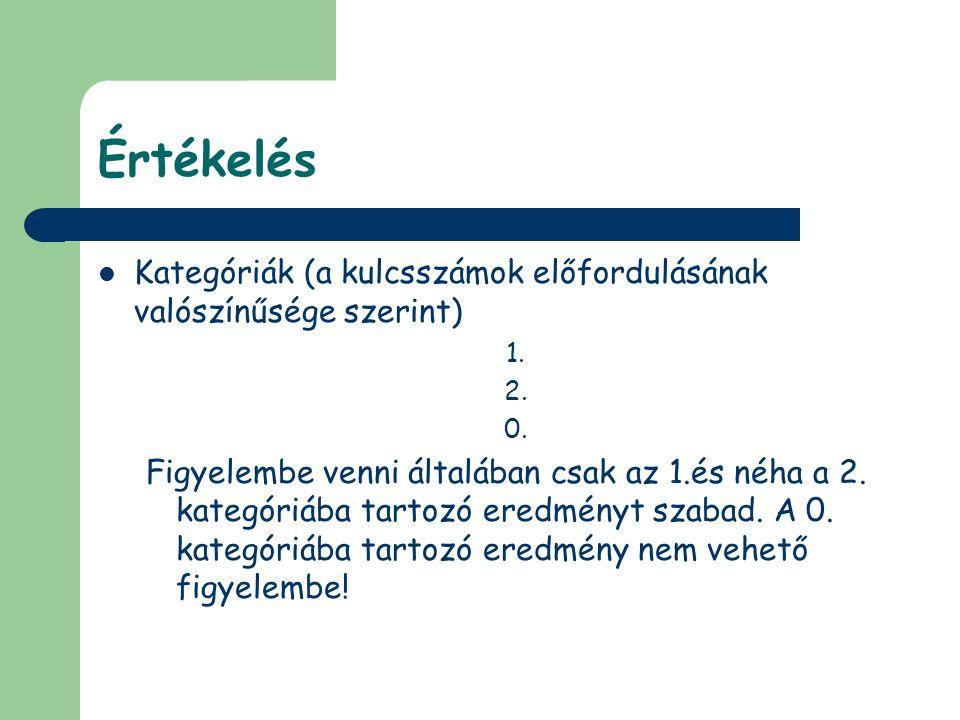 Értékelés Kategóriák (a kulcsszámok előfordulásának valószínűsége szerint) 1. 2. 0.
