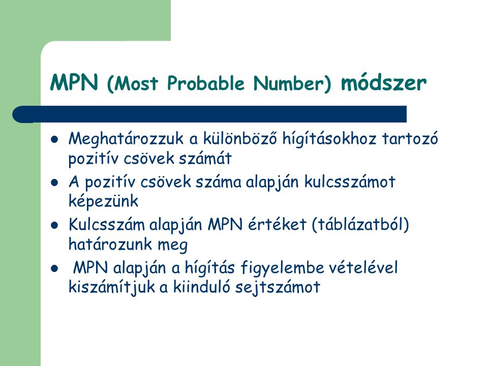 MPN (Most Probable Number) módszer