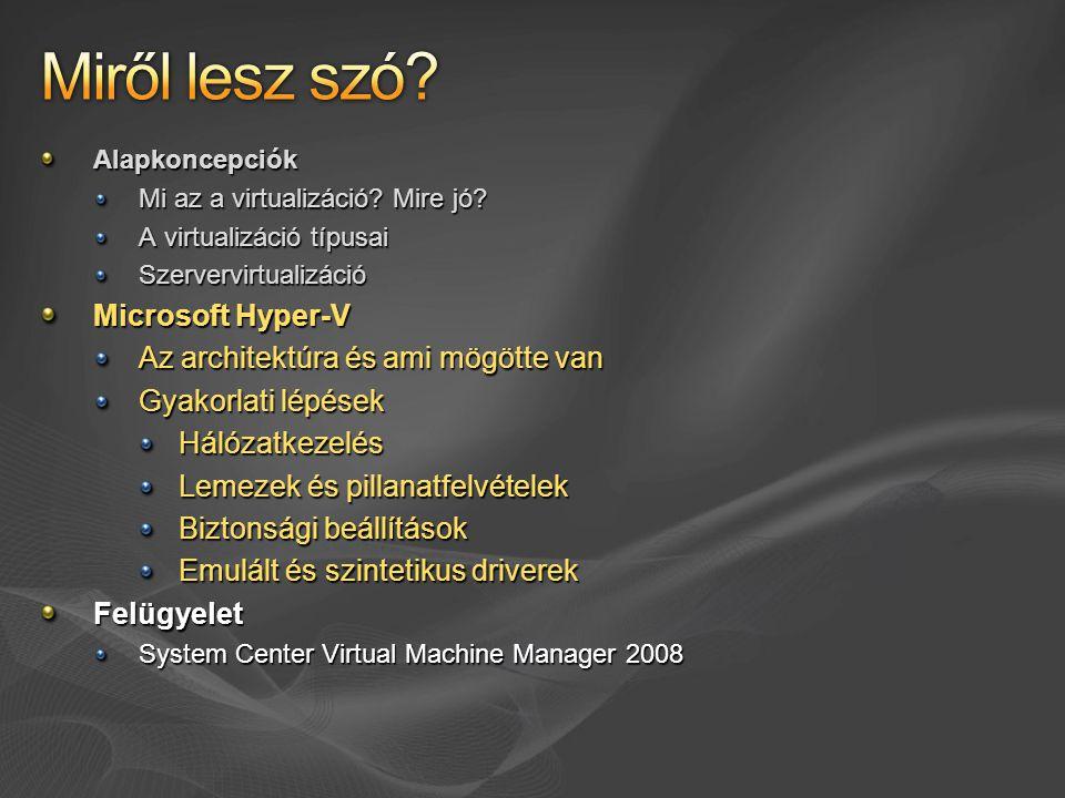 Miről lesz szó Microsoft Hyper-V Az architektúra és ami mögötte van