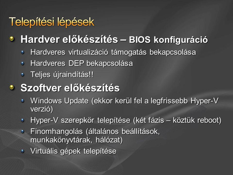Telepítési lépések Hardver előkészítés – BIOS konfiguráció