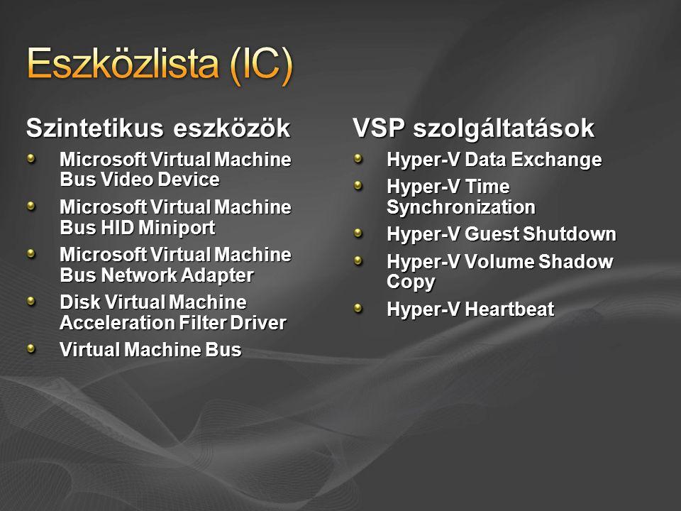 Eszközlista (IC) Szintetikus eszközök VSP szolgáltatások