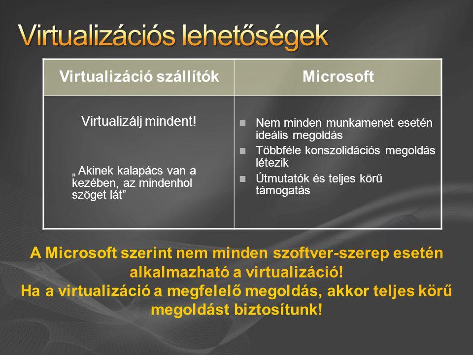 Virtualizációs lehetőségek