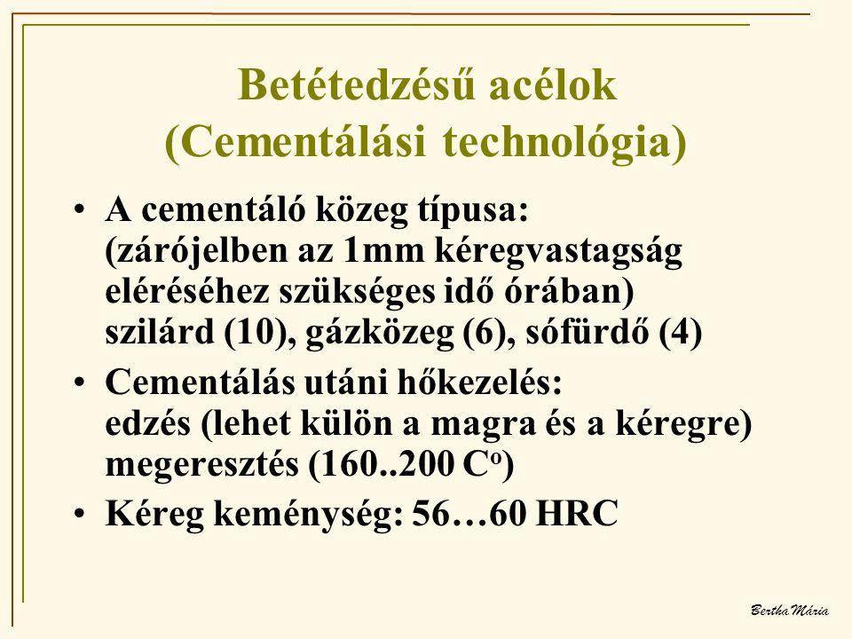 Betétedzésű acélok (Cementálási technológia)