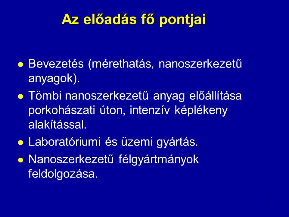 Az előadás fő pontjai Bevezetés (mérethatás, nanoszerkezetű anyagok).