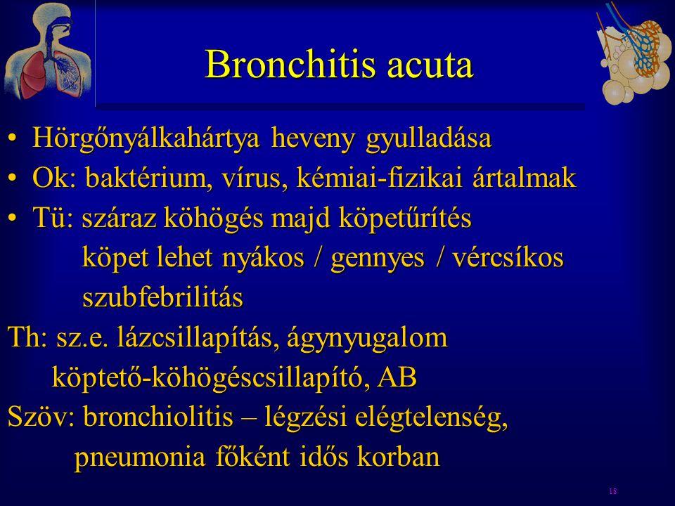 Bronchitis acuta Hörgőnyálkahártya heveny gyulladása