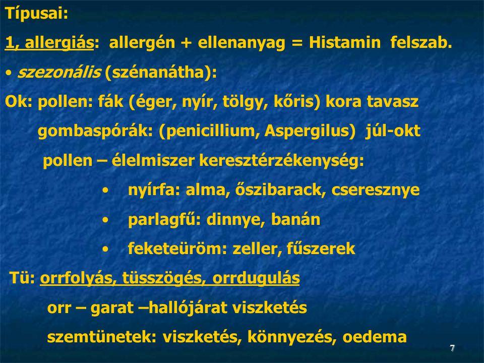 1, allergiás: allergén + ellenanyag = Histamin felszab.