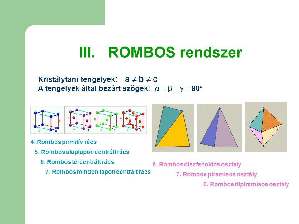 III. ROMBOS rendszer Kristálytani tengelyek: a  b  c A tengelyek által bezárt szögek:       90°