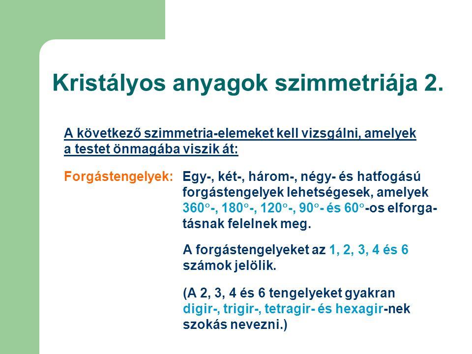 Kristályos anyagok szimmetriája 2.