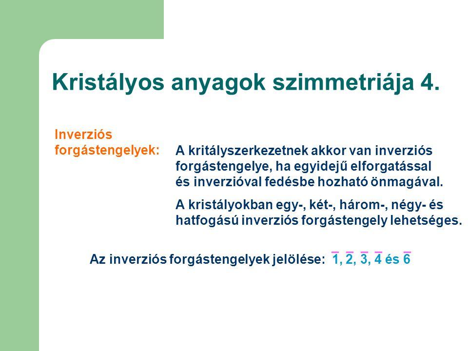Kristályos anyagok szimmetriája 4.