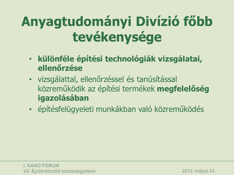 Anyagtudományi Divízió főbb tevékenysége