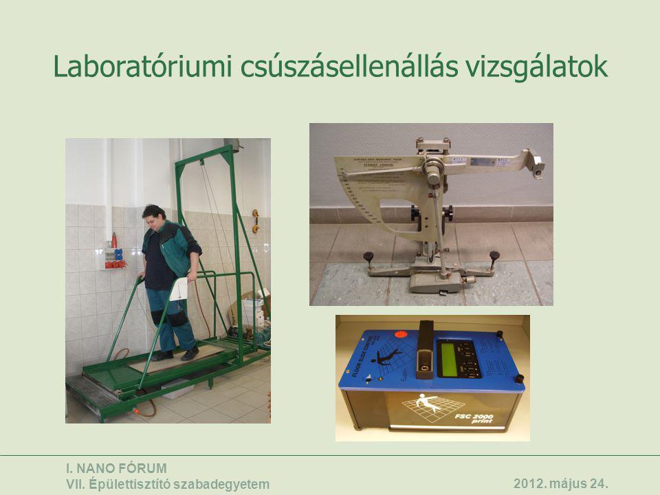 Laboratóriumi csúszásellenállás vizsgálatok
