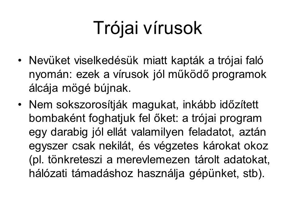 Trójai vírusok Nevüket viselkedésük miatt kapták a trójai faló nyomán: ezek a vírusok jól működő programok álcája mögé bújnak.