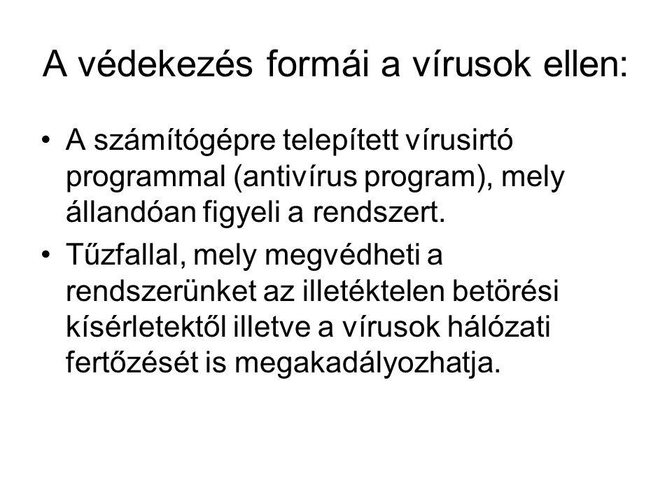 A védekezés formái a vírusok ellen: