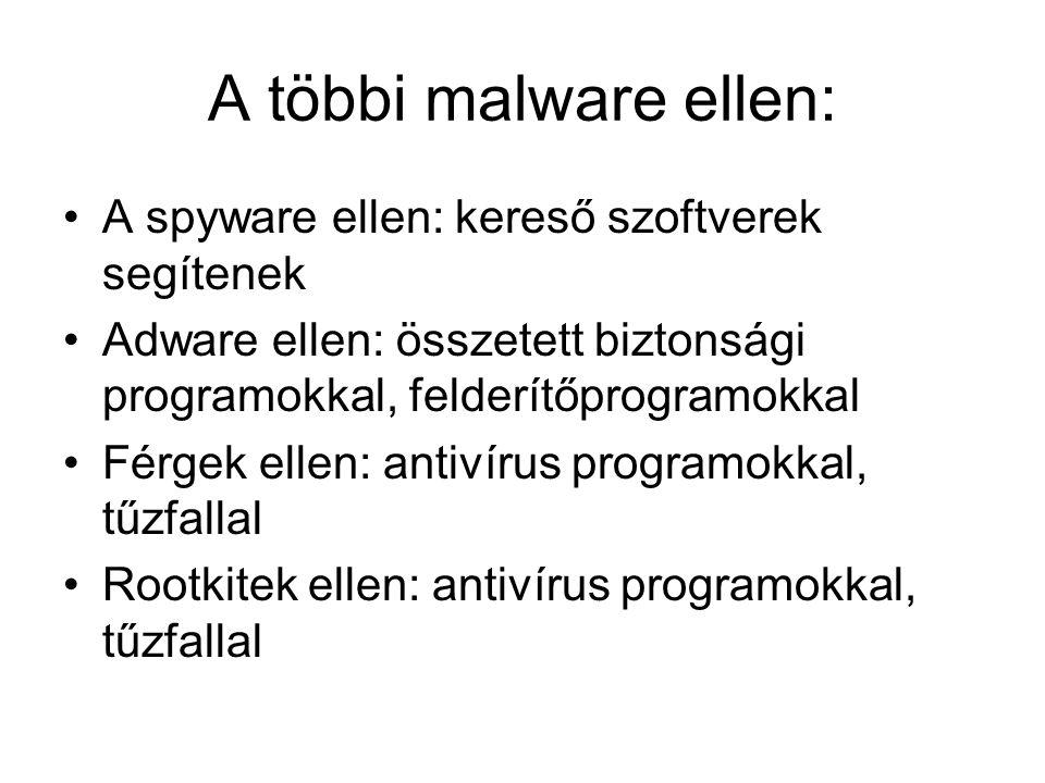 A többi malware ellen: A spyware ellen: kereső szoftverek segítenek