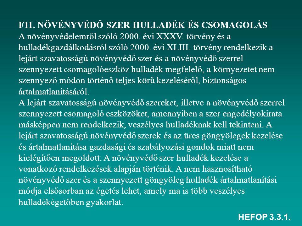 F11. NÖVÉNYVÉDŐ SZER HULLADÉK ÉS CSOMAGOLÁS