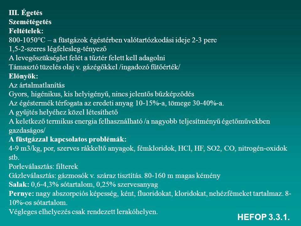 HEFOP 3.3.1. III. Égetés Szemétégetés Feltételek: