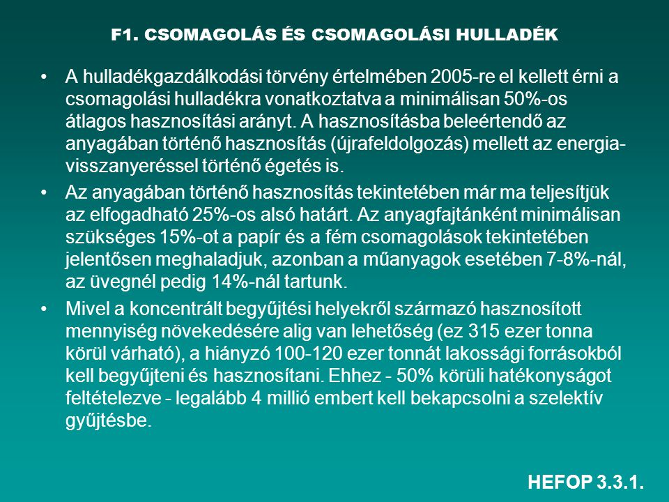 F1. CSOMAGOLÁS ÉS CSOMAGOLÁSI HULLADÉK