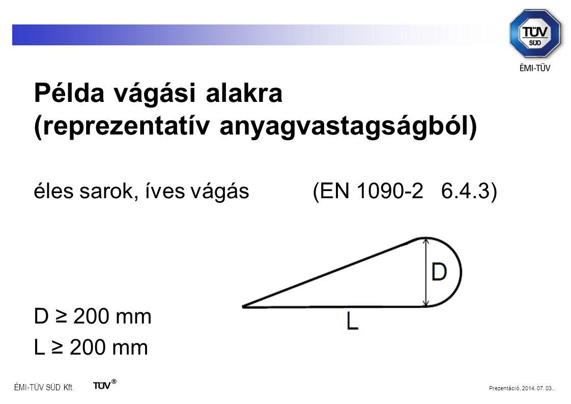 Példa vágási alakra (reprezentatív anyagvastagságból)